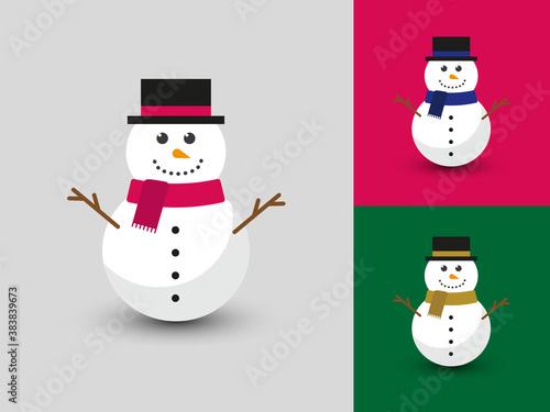 Obraz na plátně Cute happy snowman in flat vector style.