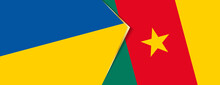 Ukraine And Cameroon Flags, Two Vector Flags.