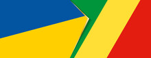 Ukraine And Congo Flags, Two Vector Flags.