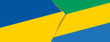 Ukraine And Gabon Flags, Two Vector Flags.