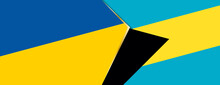 Ukraine And The Bahamas Flags, Two Vector Flags.