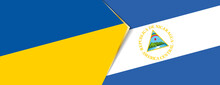 Ukraine And Nicaragua Flags, Two Vector Flags.