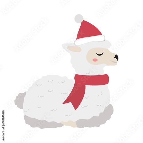 Naklejka premium Cute llama christmas icon flat, cartoon style. Vector illustration