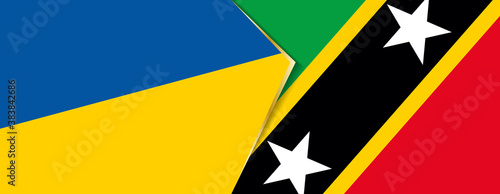 Fototapeta Ukraine and Saint Kitts and Nevis flags, two vector flags. obraz na płótnie