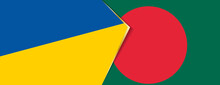 Ukraine And Bangladesh Flags, Two Vector Flags.