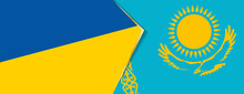 Ukraine And Kazakhstan Flags, Two Vector Flags.