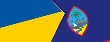 Ukraine And Guam Flags, Two Vector Flags.