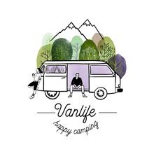Van Life Poster. Watercolor Ansd Sketch Vector Illustration.