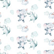 Watercolor seamless tropical pattern with dancing elephant and crocodile african jungle animals on white background. Childish Africa animal illustration. Happy birthday,celebration concept.