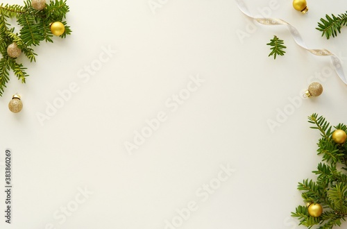 Christmas background, empty Christmas desk mockup, composition with decorations and space for text or product display, top view, flatly.