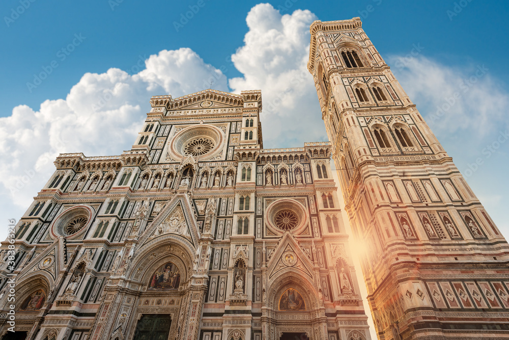 Florence Cathedral, Duomo of Santa Maria del Fiore and bell tower of Giotto (Campanile). UNESCO world heritage site, Tuscany, Italy, Europe