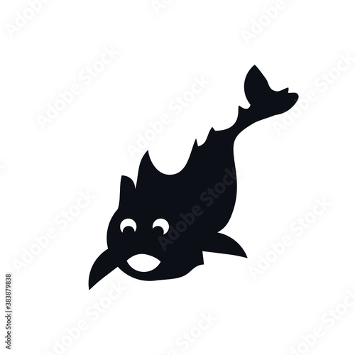 Fish children's logo icon sign symbol sea animal emblem element Hand drawn Abstract cartoon funny cute design style Fashion print clothes greeting invitation card banner game poster flyer cover