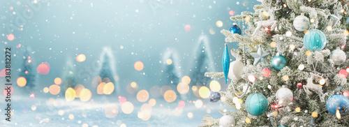 Fototapeta Winter Landscape With Christmas Tree And Shining Lights obraz