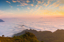 Beautiful Landscape Nature In Morning On Peak Mountain With Sunlight Cloud Fog And Bright Blue Sky In Winter At Phu Chi Fa Forest Park Is A Famous Tourist Attraction Of Chiang Rai Province, Thailand
