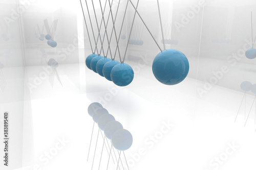 Blue newtons cradle Canvas Print