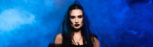 Panoramic Crop Of Woman In Black Veil On Blue With Smoke, Halloween Concept
