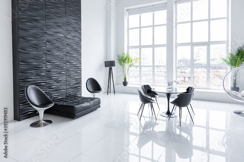 Luxurious futuristic trendy modern interior in contrasting black and white color Fototapet