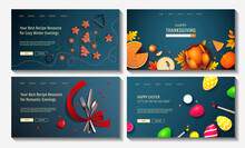 Set Of Web Page Design Templates For Holidays, Christmas, New Year, Valentine's Day, Easter, Thanksgiving Day, Cooking, Food. Vector Illustration For Poster, Banner, Website.
