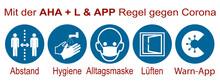 "Hinweisschild Mit Der ""AHA   L & Warn-App"" Regel"