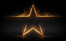 Gold Star With Glowing Sparks Effect