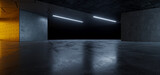 Fototapeta Perspektywa 3d - Garage Cement  Sci Fi Concrete Grunge Dark Underground Studio hangar Parking Car Showroom Orange Blue Lights Modern Background Futuristic 3D Rendering