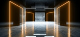 Fototapeta Perspektywa 3d - Sci Fi Futuristic Modern Parking Neon Glowing Laser Orange Yellow Cement Concrete Reflective Dark Underground Car Showroom Warehouse Garage Background 3D Rendering