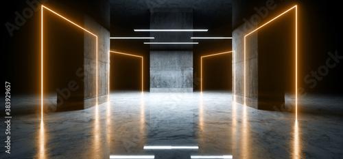 Sci Fi Futuristic Modern Parking Neon Glowing Laser Orange Yellow Cement Concret Billede på lærred