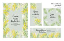 ミモザの花のフレームテンプレート素材:手描きのイラスト
