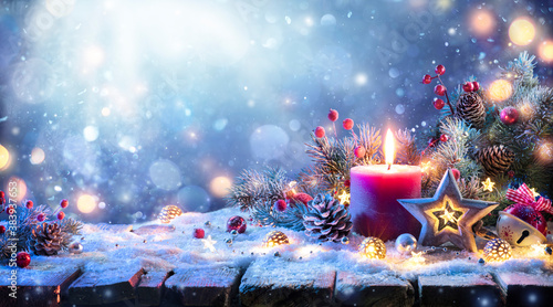 Advent - Christmas Decoration With Ornament And Fir Branches And Defocused Lights
