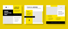 Set Of Clean Editable Social Media Post Templates With Yellow And Black Accent. Modern Business Banner Graphics For Online Advert Or Facebook And Instagram
