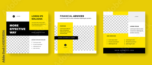 Obraz Set of clean editable social media post templates with yellow and black accent. Modern business banner graphics for online advert or facebook and instagram - fototapety do salonu