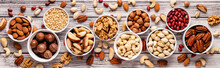 Various Nuts In Bowls.