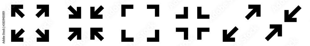 Fototapeta Full Screen Icon Black | Big Small Size Illustration | Video Expand Reduce Button Symbol | Minimize Maximize Frame Logo | Fullscreen Sign | Isolated | Variations