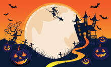 Happy Halloween Orange Banner Trick Or Treat With Full Moon, Witch, Vampire, Ghost, Bats, Pumpkin, Party Invitation Background With Text. Vector Illustration Flat Design