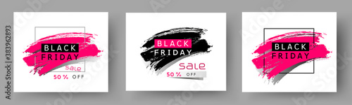 Fototapeta Black Friday poster set. Vector special offer with brush stroke backgrounds. Promo banner 50 off discount sale templates obraz