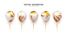 Set Of Realistic Air Helium Balloons With Ribbon. White With Gold Gradient Collection Of Festive Ballons. Decorative 3d Objects. Decoration Celebreation Design Elements. Vector Illustration