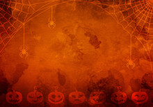 Halloween Orange Watercolor Background With Pumpkins, Cobweb With Spiders And Copy Space