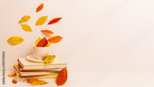 autumn leaves, a white Cup and a stack of books the concept of fall season Poster Mural XXL