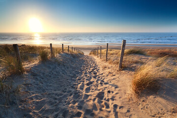 path to sand beach in North sea