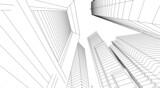 Fototapeta Do przedpokoju - City buildings architectural 3d illustration