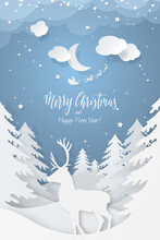 Winter Scene With 3D Realistic Paper Cutout Deer, Fir Trees And Flying Santa's Sleigh In Night Sky With Stars, Snow And Moon. Festive Layered Layout With Symbols Of Christmas Season For Holiday Poster