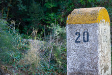 Old Milestones Exposed On The Bailen-Motril Road (N-323) As It Passes Through La Cerradura De Pegalajar (Jaen-Spain)