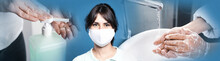 Stop Coronavirus Spreading. People Using Sanitizer, Wearing Mask And Washing Hands To Prevent Contamination, Banner Design
