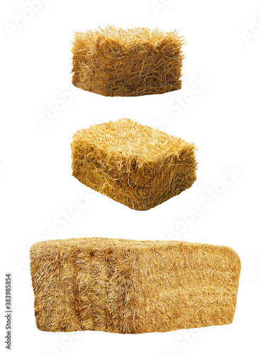 Set of hay bales on white background. Agriculture industry Fototapet