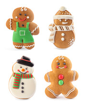 Set Of Different Christmas Shaped Cookies On White Background