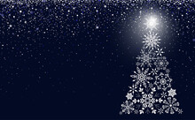 White Snowflakes In The Form Of A Christmas Tree Vector Image Background Navy Blue
