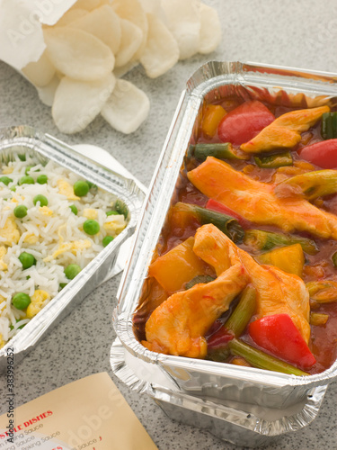 Sweet And Sour Chicken With Egg Fried Rice And Prawn Crackers