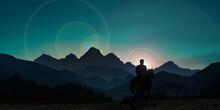 Landscape Silhouette Cowboy At...