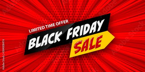 3d comic book cartoon black friday sale banner