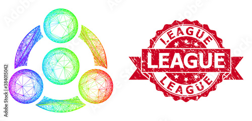 Scratched League Seal and Spectrum Linear Collaboration Wallpaper Mural
